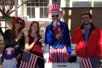 Up to Us students dress up as Uncle Sam for their signature event.