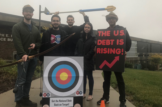 "Oakland Community College encouraged students to ""help get the national debt back on target."""