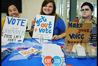 Oakland University's Up to Us team's voter drive.